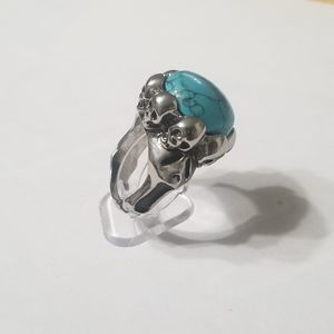 New stainless steel turquois ring size 9